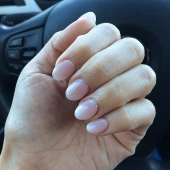 Gorgeous round shape ombré French tip gel set by Sarah , Yelp