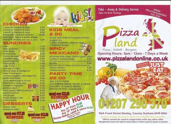 Pizza Land Pizza 96 Front Street Stanley Durham